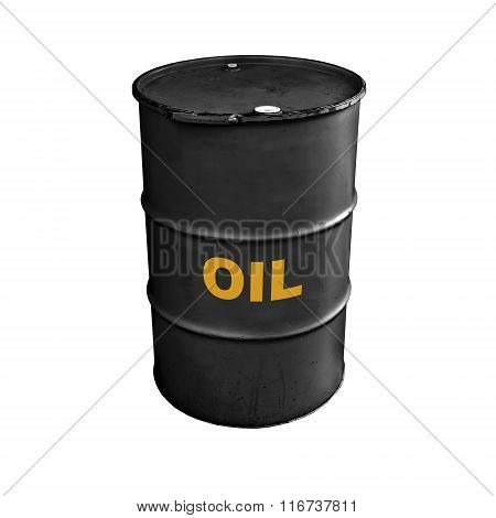 Black Metal Barrel With Yellow Oil Text Label