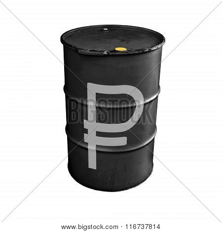 Black Metal Barrel With Russian Ruble Sign Isolated