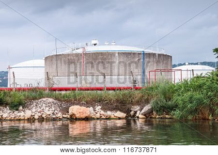 Oil Tanks On Black Sea Coast In Varna Port