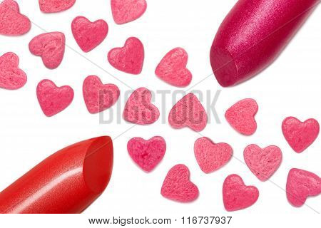 lipstick close-up and hearts