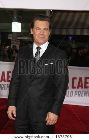 LOS ANGELES - FEB 1:  Josh Brolin at the Hail, Caesar World Premiere at the Village Theater on February 1, 2016 in Westwood, CA