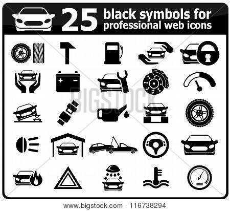 25 black car service icons