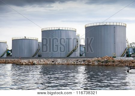 Shining Oil Tanks On Black Sea Coast In Varna Port