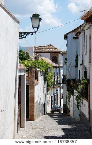 Street in the Albaicin District, Granada.