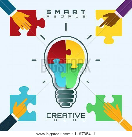 Smart people, bright ideas conceptual business background.