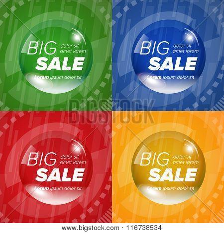 Big sale square stickers in a circle bubble