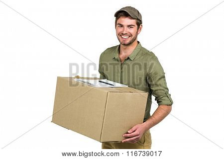 Handsome postman holding pack on white screen