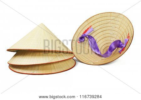 Conical Shape Oriental Straw Hats on White Background