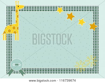Decorative template frame design for baby photo and memories, scrapbook concept.