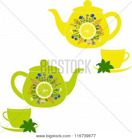 Teapot and cup with herbs, mint, lemon and lime on a transparent background