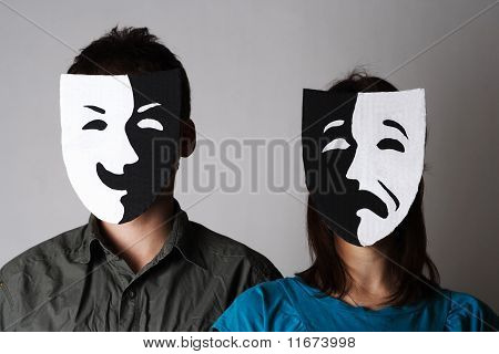 Man And Woman In Theater Black And White Emotions Masks