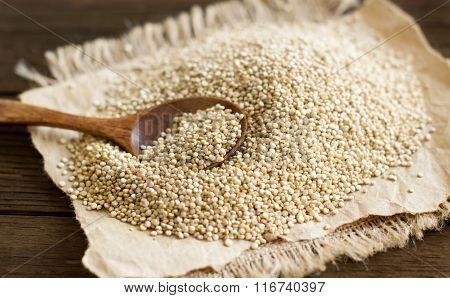 Pile Of White Quinoa With A Spoon