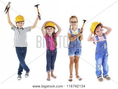 Cute children with tools isolated on white
