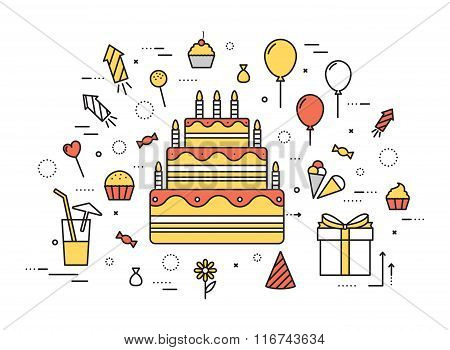 Thin line happy birthday party modern illustration concept. Infographic guide way from candy to the