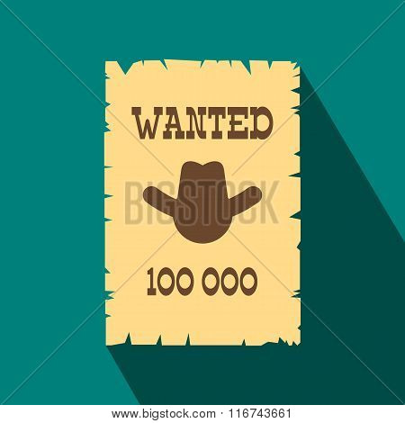 Vintage wanted poster flat icon