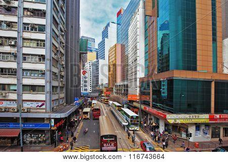HONG KONG - DECEMBER 11, 2014: Hong Kong Special Administrative Region, China. Ultra-modern skyscrapers and narrow streets between them