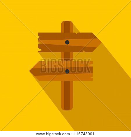 Wooden direction arrow sign flat icon