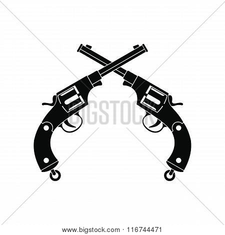 Crossed revolvers black icon