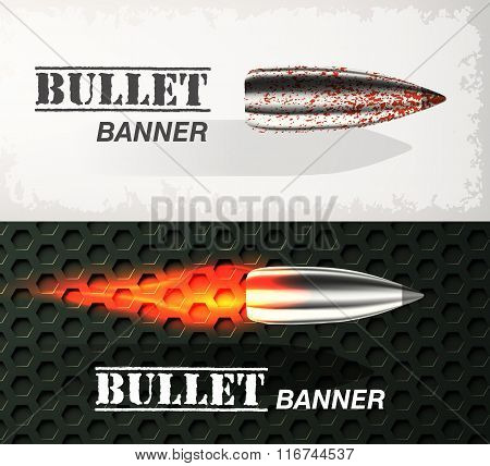 Banner of flying bullet ob military background concept. Danger vector illustration design set