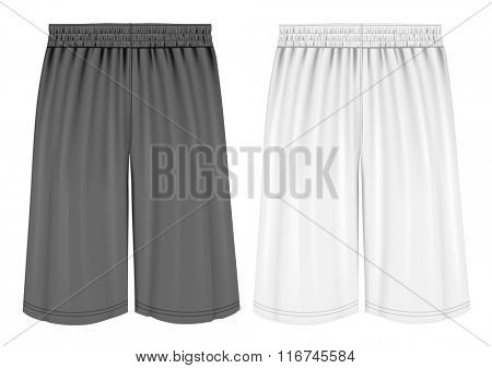 Basketball shorts. Fully editable handmade mesh. Vector illustration.