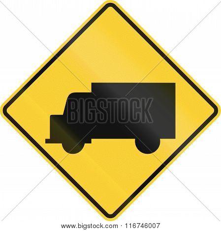 United States Mutcd Warning Road Sign - Trucks