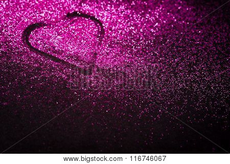 Pink Heart In Glitter With Copy Space