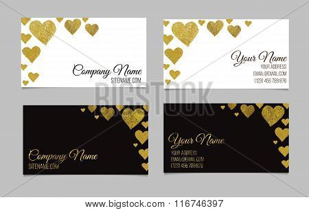 Business card template or visiting card set with golden foil heart shape design.