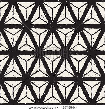 Vector Seamless Black And White Hand Painted Triangles Geometric Grid Retro Pattern