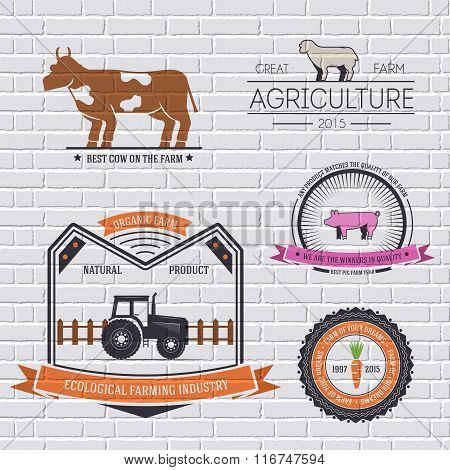 farm label template of emblem element for your product or design, web and mobile applications with t