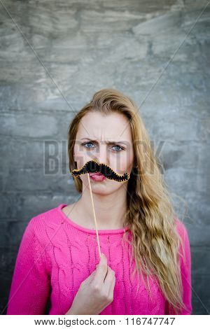 Pretty woman moustache on stick