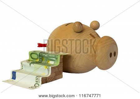 banknote in the form of scale and piggy bank on white background