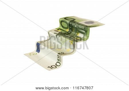 banknote in the form of scale on white background