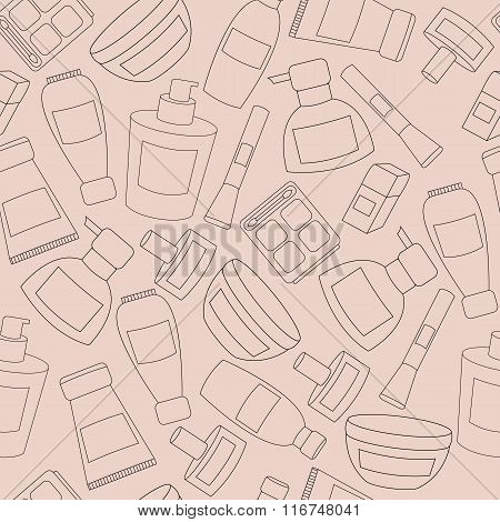 Women cosmetic object pattern vector isolated pink icons