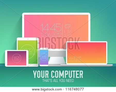 mobile electronic devices on flat style concept background. Vector illustration with modern gradint