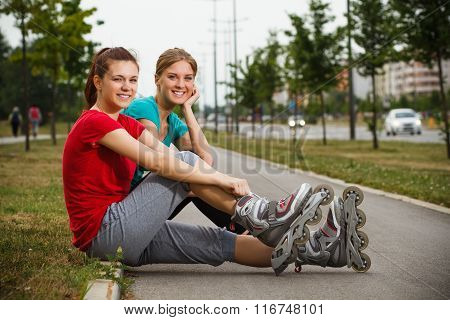 Friends resting after exercise