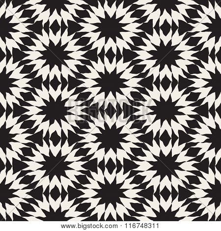 Vector Seamless Black And White Hand Painted Line Geometric Triangle  Star Pattern