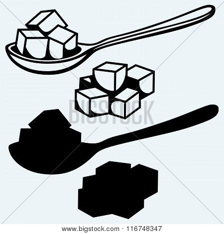 Refined white sugar, spoon