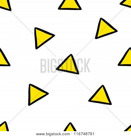 Cute seamless pattern with yellow triangles