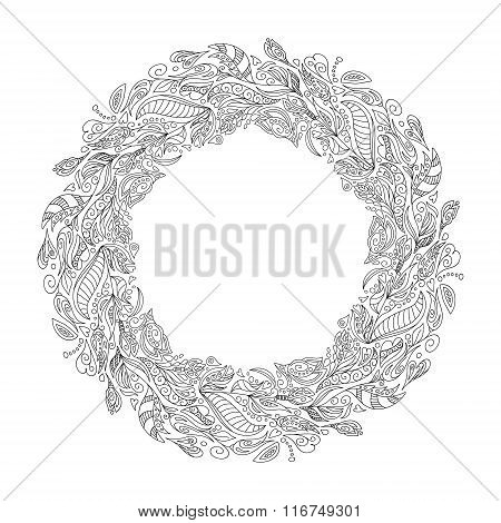 Bridal Wreath Of Forest Poppies Flowers Wild Berries, Wreath For Bride. Vector Hand Drawn Artwork. L
