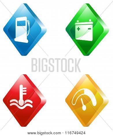 car service glass transparent color icon set