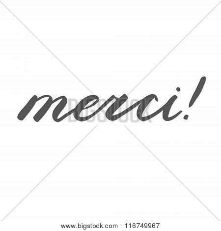 Merci, thank you in French. Brush hand lettering