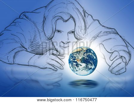 Man with earth in hands
