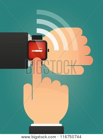 Hand Pointing A Smart Watch With A Cigarette