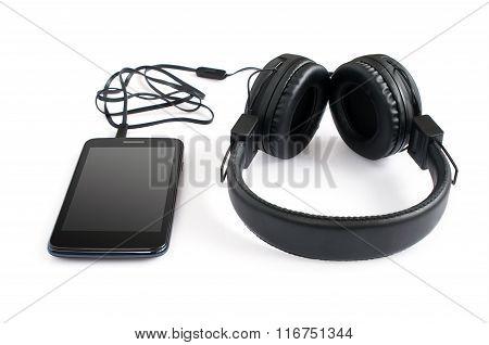 Black Pair Of Headphones And Smartphone