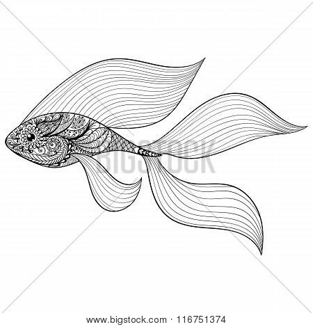 Zentangle stylized Gold Fish. Hand Drawn patterned vector illust
