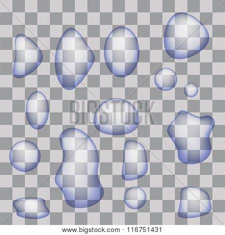 Set of Transparent Water Drops