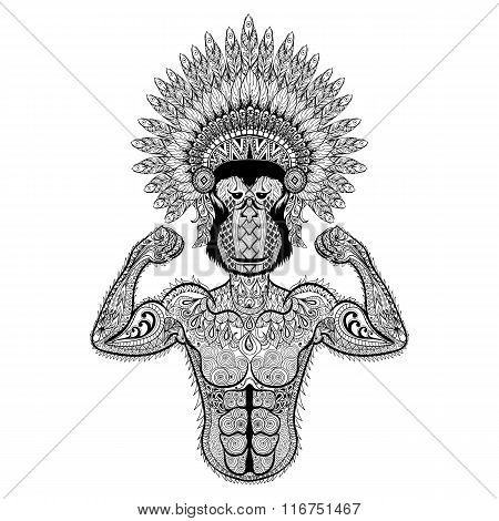 Zentangle stylized strong Monkey like Bodybuilder with war bonne