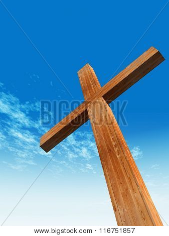 Concept or conceptual wood cross or religion symbol shape over a blue sky with clouds background