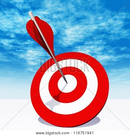 Concept or conceptual red dart target board with an arrow in the center on white ground and sky background