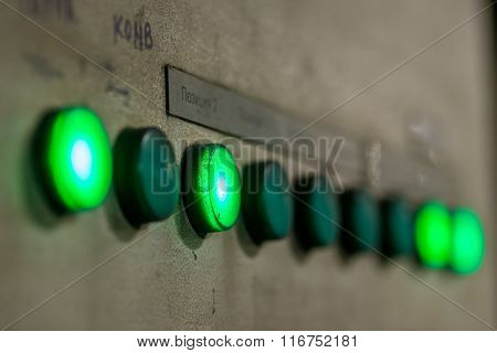 green buttons close-up